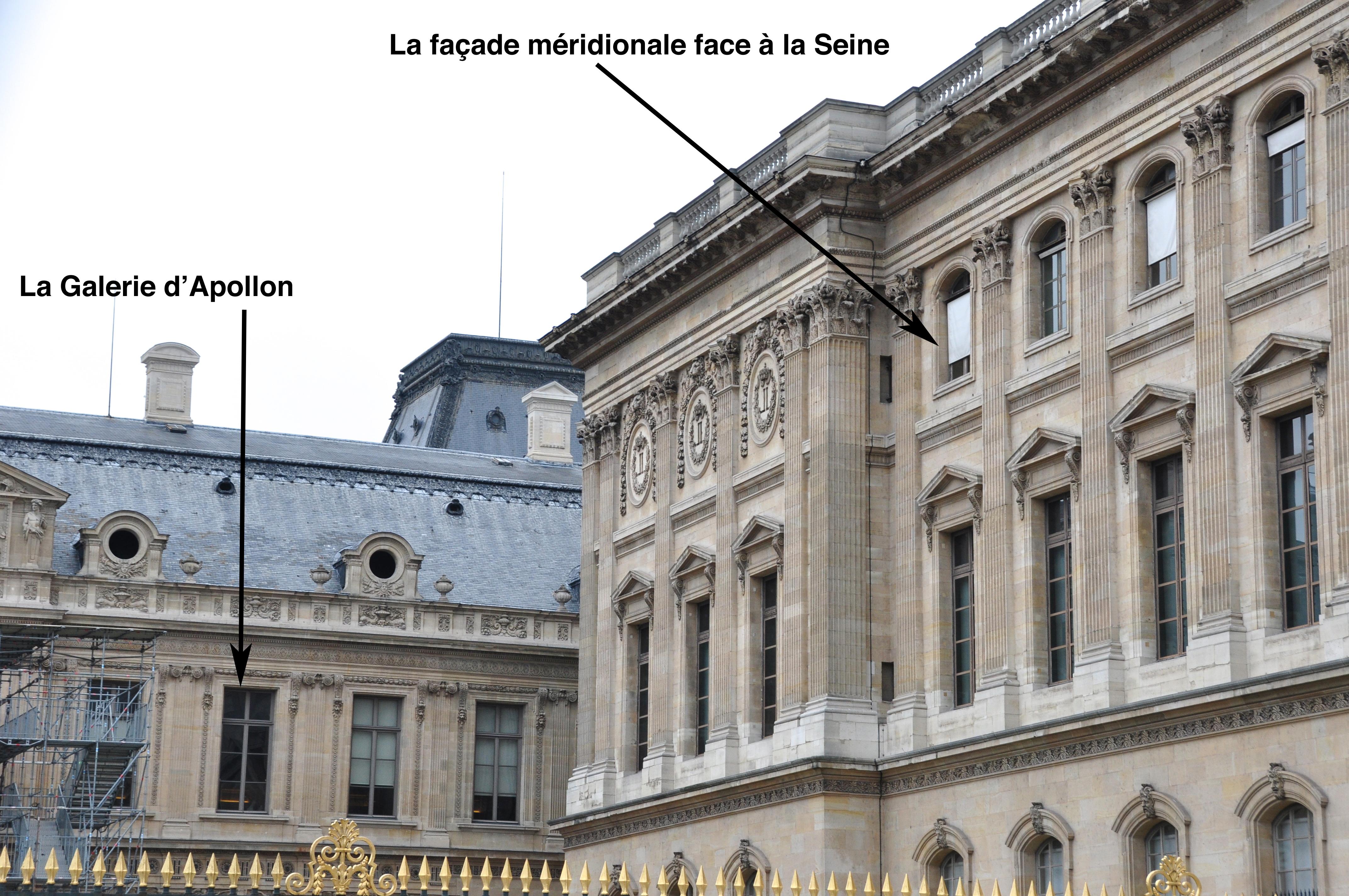 La galerie d'Apollon et la façade méridionale du Louvre, Paris